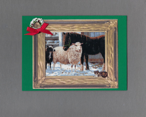 Handmade Fabric Farm Yard Friends Christmas Blank Greeting Card