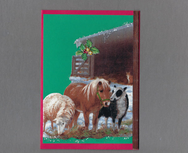 Handmade Fabric Farm Yard Stable Friends Christmas Blank Greeting Card