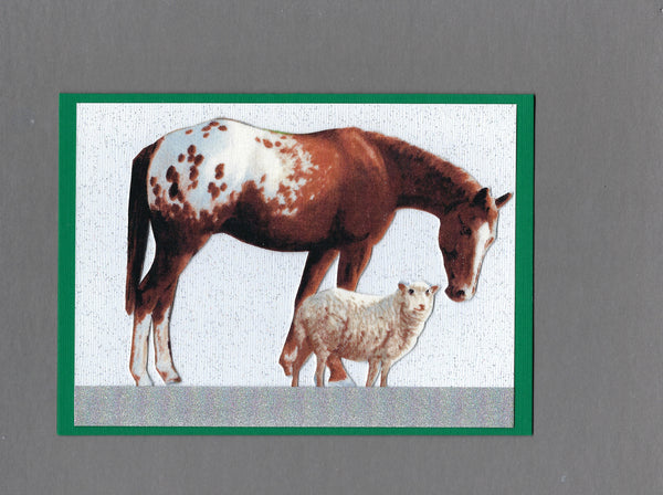 Handmade Fabric Meadow Friends Horse & Sheep Christmas Blank Greeting Card