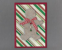 Handmade Fabric Felt Gingerbread Man Christmas Blank Greeting Card
