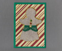 Handmade Fabric Felt Gingerbread Woman Christmas Blank Greeting Card