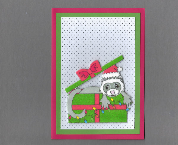 Handmade Fabric Gray Ferret In a Box Blank Christmas Greeting Card