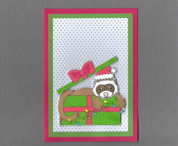 Handmade Fabric Sable Ferret In a Box Blank Christmas Greeting Card