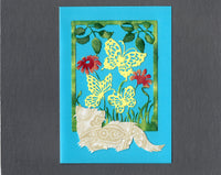 Handmade Fabric Butterfly Cream Ferret Blank Greeting Card
