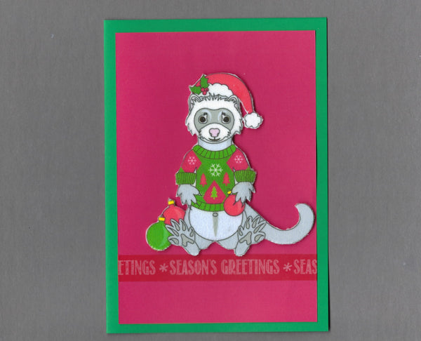 Handmade Fabric Gray Ferret In Christmas Sweater Blank Christmas Greeting Card
