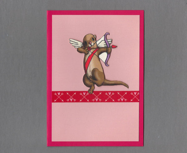 Handmade Fabric Ferret Cupid Love Valentine's Day Blank Greeting Card