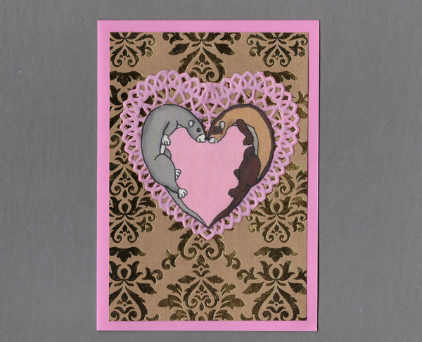 Handmade Fabric Ferret Heart Love Valentine's Day Blank Greeting Card