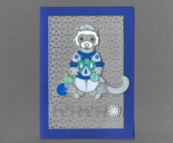 Handmade Fabric Gray Ferret In Holiday Sweater Blank Christmas Greeting Card