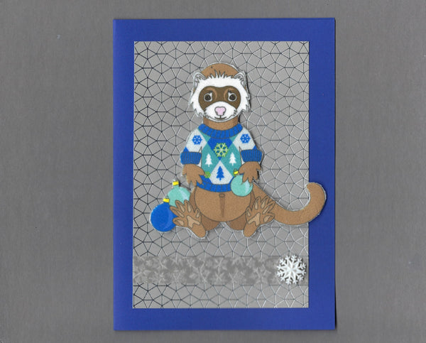 Handmade Fabric Sable Ferret In Holiday Sweater Blank Christmas Greeting Card