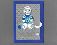 Handmade Fabric White Ferret In Holiday Sweater Blank Christmas Greeting Card