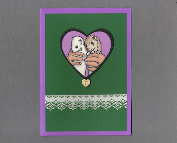 Handmade Fabric Ferret Human Love Valentine's Day Blank Greeting Card