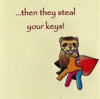 Handmade Fabric Key Thief Ferret Blank Greeting Card