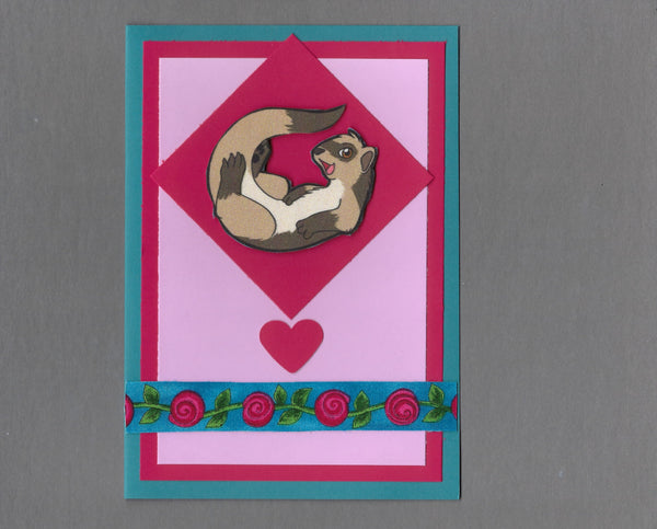 Handmade Fabric Ferret Silly Love Valentine's Day Blank Greeting Card