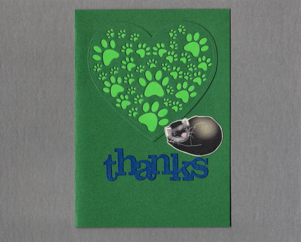 Handmade Fabric Green Thank You Ferret Blank Greeting Card