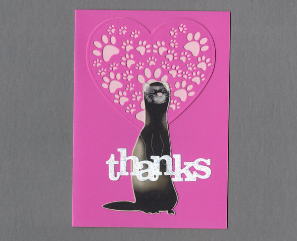 Handmade Fabric Pink Thank You Ferret Blank Greeting Card