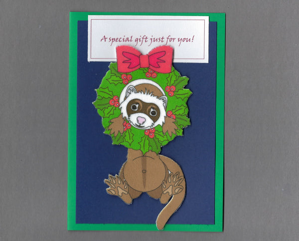 Handmade Fabric Sable Ferret In Wreath Blank Christmas Greeting Card