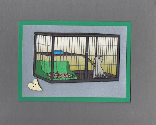 Handmade Fabric Ferret in Cage Get Well Blank Greeting Card