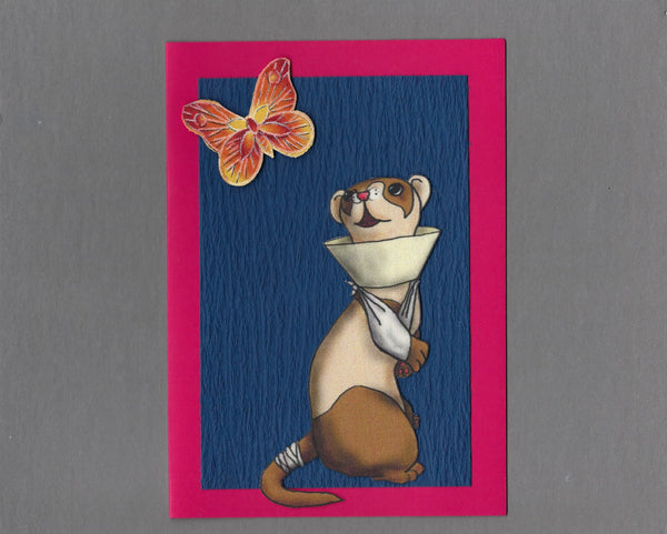 Handmade Fabric Ferret Cone of Shame Get Well Blank Greeting Card