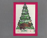 Handmade Fabric Ferret War Dance Under Mouse Tree Christmas Blank Greeting Card