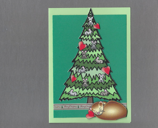 Handmade Fabric Ferret Love Under Mouse Tree Christmas Blank Greeting Card