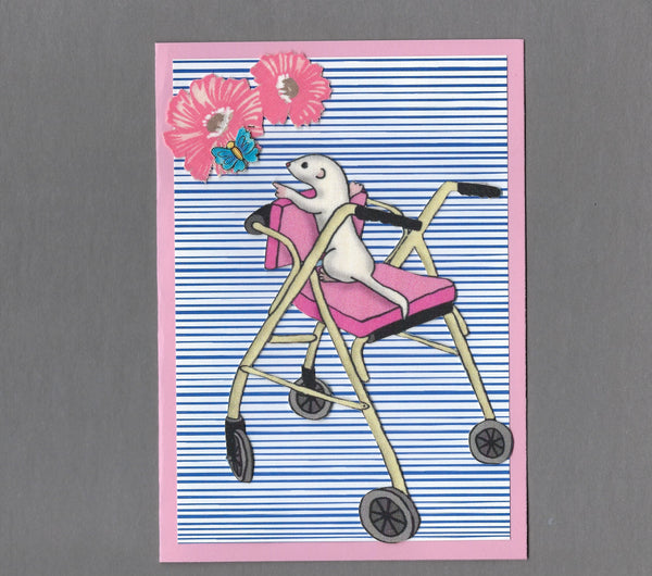 Handmade Fabric Ferret in Pink Walker Get Well Blank Greeting Card