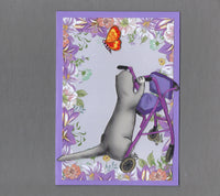 Handmade Fabric Ferret Walker with Butterflies Get Well Blank Greeting Card