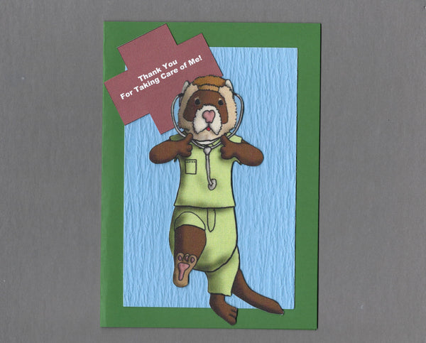 Handmade Fabric Ferret in Green Scrubs Veterinary Appreciation Thank You Blank Greeting Card