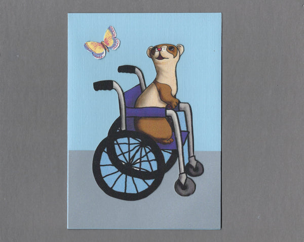 Handmade Fabric Ferret Wheelchair Get Well Blank Greeting Card