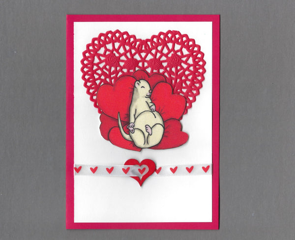 Handmade Fabric Ferret on Heart Pillows Love Valentine's Day Blank Greeting Card