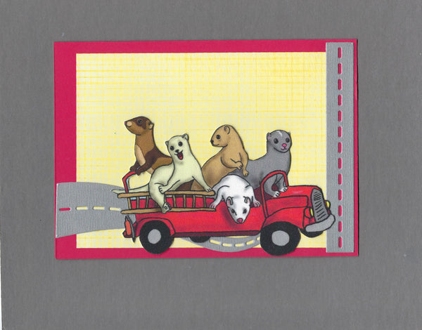 Handmade Fabric Fire Friends Ferret Blank Greeting Card