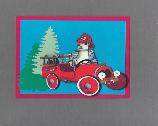 Handmade Fabric Firefighter Ferret Blank Greeting Card