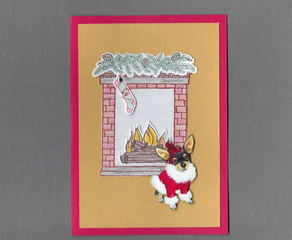 Handmade Fabric Fireplace Dogs Chihuahua Dog Christmas Blank Greeting Card