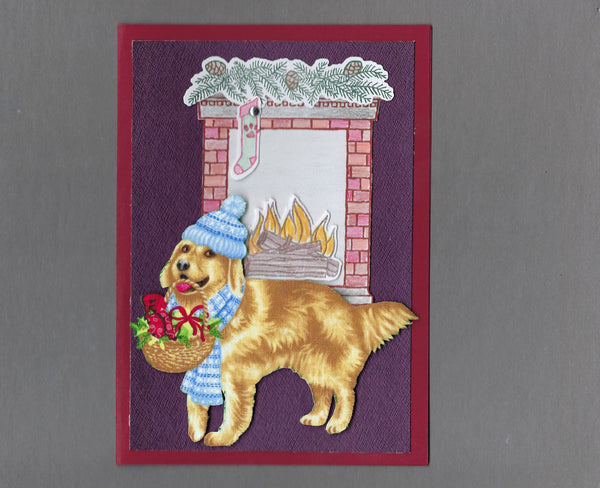Handmade Fabric Fireplace Dogs Golden Retriever Dog Christmas Blank Greeting Card