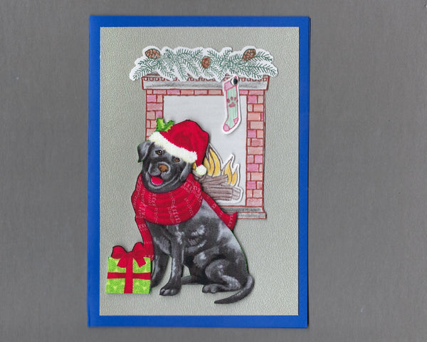 Handmade Fabric Fireplace Dogs Labrador Retriever Dog Christmas Blank Greeting Card