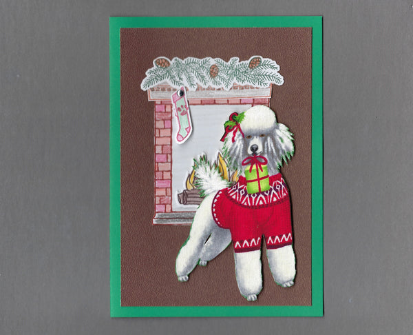 Handmade Fabric Fireplace Dogs Poodle Dog Christmas Blank Greeting Card