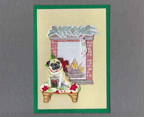 Handmade Fabric Fireplace Dogs Pug Dog Christmas Blank Greeting Card