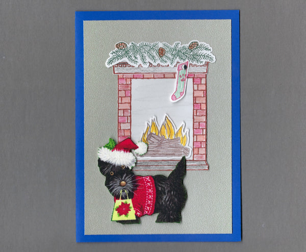 Handmade Fabric Fireplace Dogs Scottie Dog Christmas Blank Greeting Card
