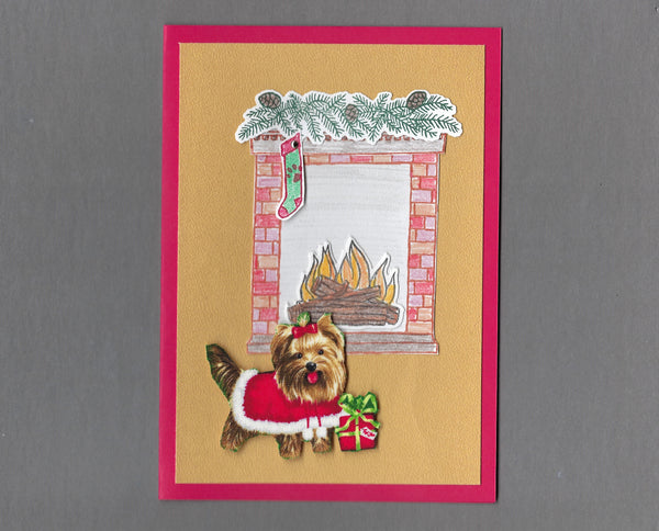 Handmade Fabric Fireplace Dogs Yorkie Dog Christmas Blank Greeting Card
