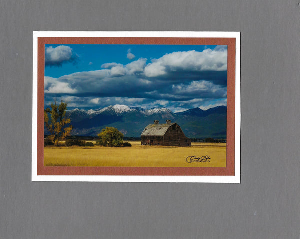 Handmade Photo Barn in the Flathead Valley Blank Greeting Card