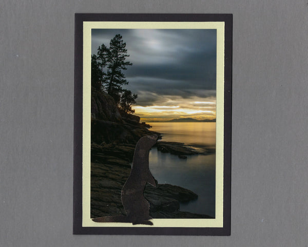 Handmade Fabric Dark Brown Ferret at Sunset on Flathead Lake Ferret Blank Greeting Card