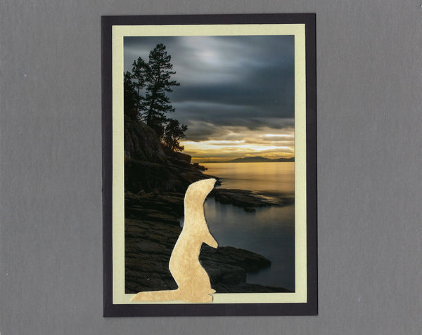 Handmade Fabric Honey Ferret at Sunset on Flathead Lake Ferret Blank Greeting Card