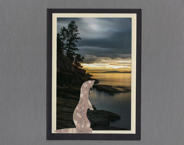 Handmade Fabric Light Brown Ferret at Sunset on Flathead Lake Ferret Blank Greeting Card