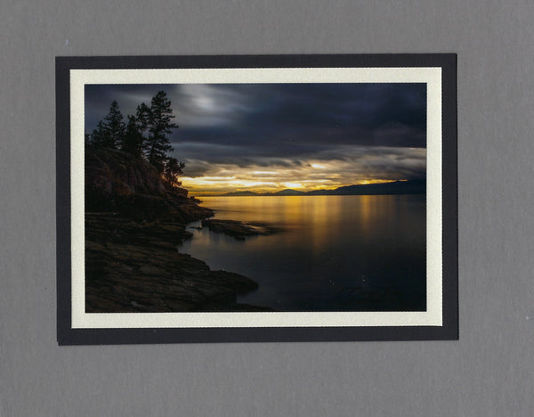 Handmade Photo Card of Sunset over Flathead Lake Blank Greeting Card