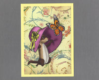 Handmade Fabric Floppy Hat Ferret Blank Greeting Card