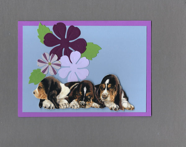 Handmade Fabric Flower Friends Basset Puppies Dog Blank Greeting Card