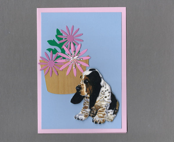 Handmade Fabric Flower Friends Basset Puppy Dog Blank Greeting Card
