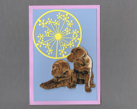 Handmade Fabric Flower Friends Chocolate Labrador Puppies Dog Blank Greeting Card