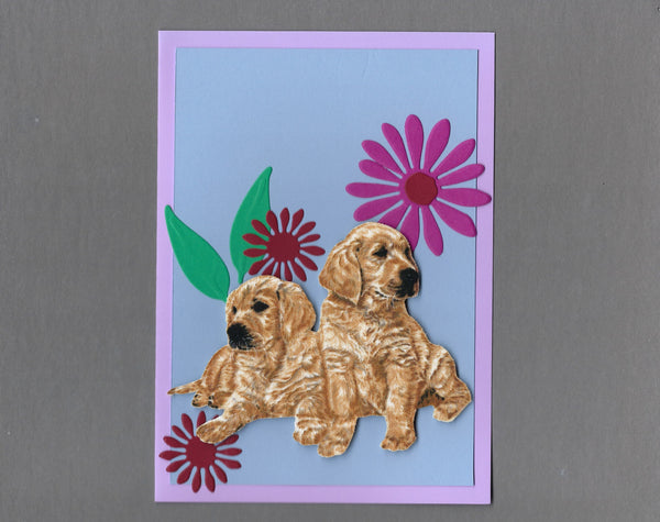 Handmade Fabric Flower Friends Golden Retriever Puppies Dog Blank Greeting Card