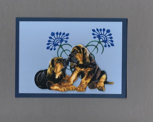Handmade Fabric Flower Friends Hound Dog Puppies Dog Blank Greeting Card