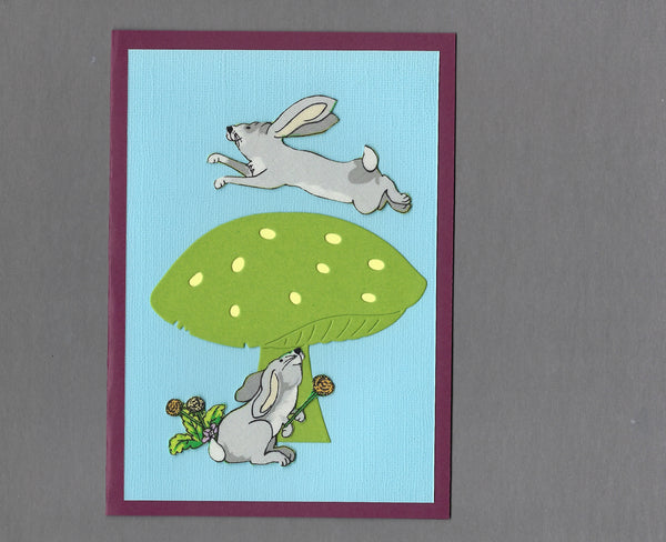 Handmade Fabric Forrest Bunny Rabbit Friends Blank Greeting Card